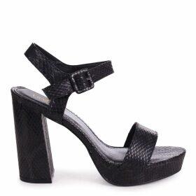 ARETHA - Black Snake Platform Barely There Heel