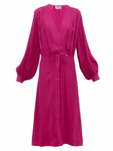 Zeus + Dione - Rania Silk Blend Crepe Wrap Dress - Womens - Pink