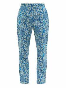 Rhode - Rohan Floral Print Cotton Trousers - Womens - Blue Print