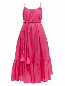 Rhode - Lea Tiered Cotton-voile Dress - Womens - Pink