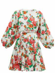 Rhode - Ella Floral Print Cotton Mini Dress - Womens - Pink Print