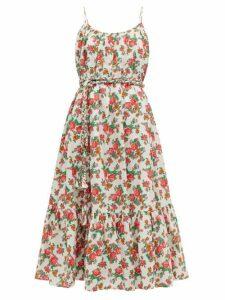 Rhode - Lea Floral-print Cotton-voile Midi Dress - Womens - White Print