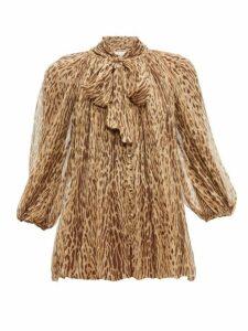 Zimmermann - Espionage Leopard Print Silk Georgette Blouse - Womens - Brown Multi