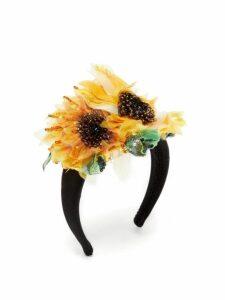 Dolce & Gabbana - Beaded Sunflower Print Silk Headband - Womens - Yellow