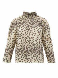 Sea - Leo Ruffled Leopard Print Cotton Voile Top - Womens - Leopard