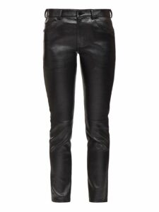 Saint Laurent - Slim Leg Leather Trousers - Womens - Black
