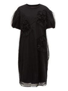 Simone Rocha - Tulle Overlay Floral Cotton Dress - Womens - Black