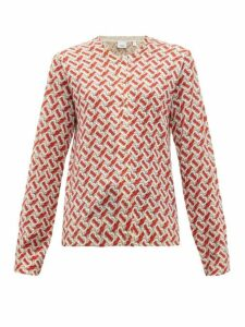 Burberry - Tb Print Wool Cardigan - Womens - Red