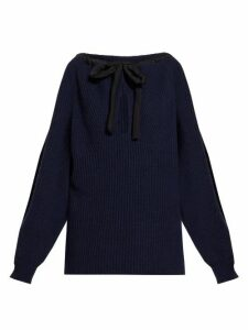 Stella Mccartney - Tie-neck Cashmere-blend Sweater - Womens - Navy