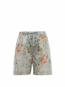 Preen By Thornton Bregazzi - Isabelle Tapestry Print Ripstop Shorts - Womens - Light Blue
