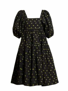 Cecilie Bahnsen - Ronja Tiered Floral Fil Coupé Cotton Dress - Womens - Black Yellow