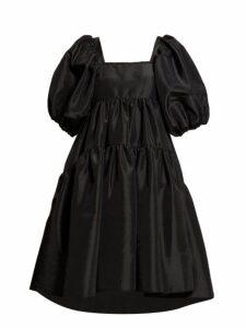 Cecilie Bahnsen - Ami Puffed Sleeve Taffeta Mini Dress - Womens - Black