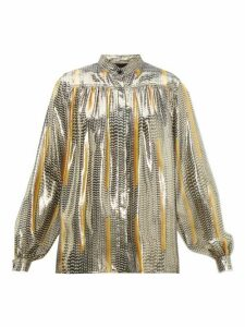Giambattista Valli - Geometric-print Silk-blend Blouse - Womens - Black Gold