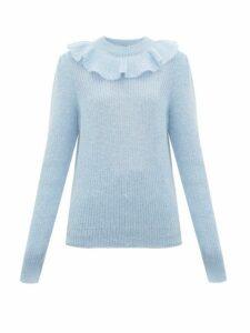 Miu Miu - Ruffled Mohair-blend Sweater - Womens - Blue