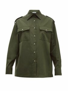 Prada - Flap Pocket Cotton Poplin Shirt - Womens - Green