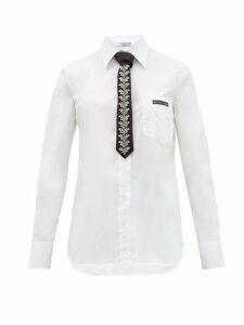 Prada - Logo Patch Cotton Poplin Shirt - Womens - White Multi