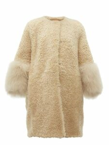 Prada - Collarless Shearling Coat - Womens - Beige Multi
