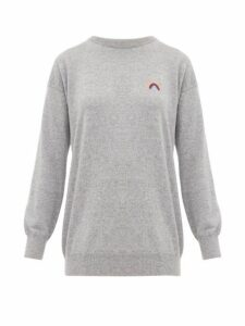 Queene And Belle - Rainbow-embroidered Cashmere Sweater - Womens - Light Grey