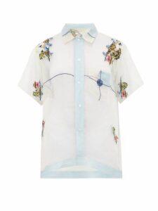 Bode - Pagoda Embridered Sheer Silk Bowling Shirt - Womens - Light Blue