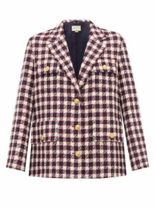 Gucci - Checked Wool Tweed Jacket - Womens - White Multi