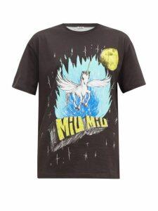 Miu Miu - Unicorn Print Washed Cotton T Shirt - Womens - Black Multi