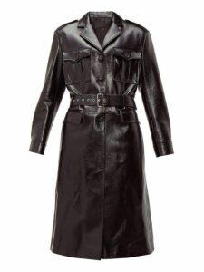 Prada - Single-breasted Leather Coat - Womens - Black