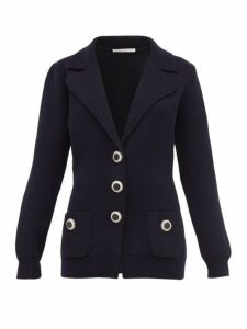 Alessandra Rich - Crystal Button Wool Cardigan - Womens - Navy