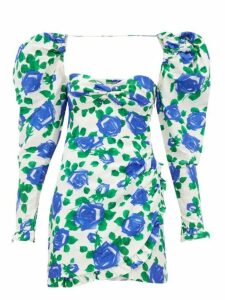 Alessandra Rich - Rose Print Sweetheart Neck Silk Mini Dress - Womens - Blue White