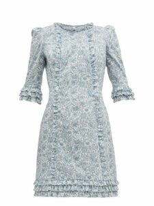 The Vampire's Wife - Cate Mini Floral Print Cotton Dress - Womens - Blue White