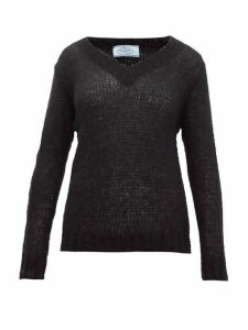 Prada - Open Knit Mohair Blend Sweater - Womens - Black