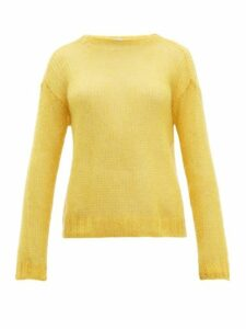 Prada - Open Knit Mohair Blend Sweater - Womens - Yellow