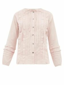 Queene And Belle - Ashley Ruffled And Pleated Cotton Blouse - Womens - Light Pink