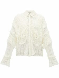 Preen By Thornton Bregazzi - Elliana Shirred Lace Shirt - Womens - White