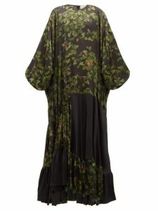 Preen By Thornton Bregazzi - Harper Leaf-print Satin Maxi Dress - Womens - Black Multi