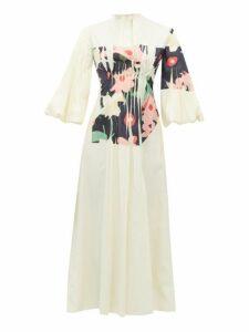 Roksanda - Neesha Floral Print Cotton Blend Midi Dress - Womens - Ivory Multi