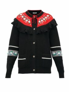 Miu Miu - Floral Embroidered Wool Cardigan - Womens - Black Multi