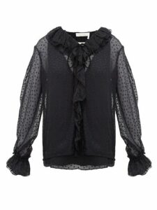 Chloé - Ruffled Flocked Silk-blend Blouse - Womens - Black