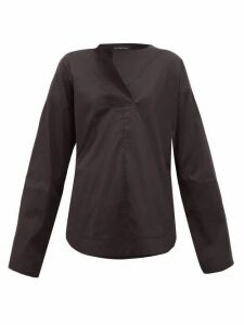 Lee Mathews - Elsie Rounded-hem Cotton-blend Shirt - Womens - Black