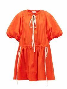Lee Mathews - Elsie Puff-sleeve Cotton-blend Dress - Womens - Orange