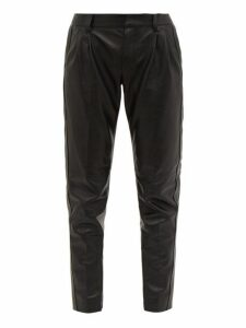 Saint Laurent - Tapered Leather Trousers - Womens - Black