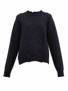 Maison Margiela - Distressed Wool Sweater - Womens - Navy
