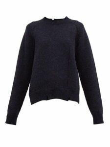 Maison Margiela - Distressed Wool Sweater - Womens - Navy