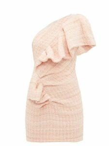 Alexandre Vauthier - One-shoulder Wool-blend Tweed Mini Dress - Womens - Light Pink