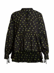 Cecilie Bahnsen - Andrea Floral Fil Coupé Cotton Top - Womens - Black