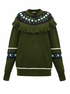 Miu Miu - Floral-embroidered Wool Sweater - Womens - Green Multi