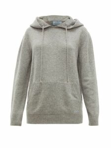 Prada - Logo Embroidered Cashmere Hooded Sweater - Womens - Grey