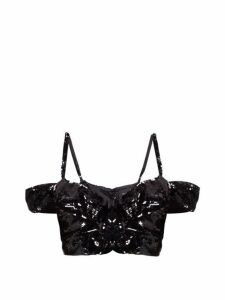 Simone Rocha - Sequinned Off-the-shoulder Bustier Top - Womens - Black