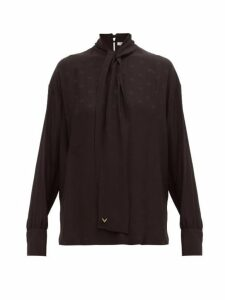 Valentino - Tie Neck Logo Jacquard Silk Blouse - Womens - Black