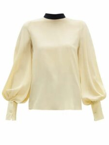 Roksanda - Cala Bishop-sleeve Silk Crepe De Chine Blouse - Womens - Light Yellow