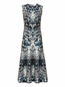 Alexander Mcqueen - Sleeveless Crystal Jacquard Midi Dress - Womens - Blue Multi